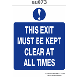 exit must be kept clear