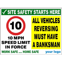 10 MPH speed limit - Reservsing must have a banksman