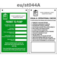 permit to pump service tag double sided