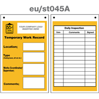 temporary work record service tag double sided