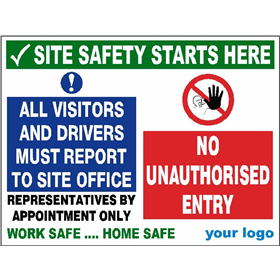 All visitors & drivers report to site office - No Entry